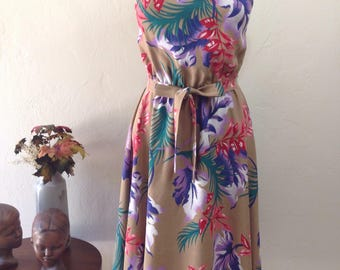 Vintage Tropical Island Floral Sundress XS