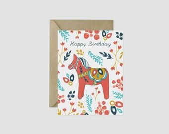 """Happy Birthday Dala Horse Greeting Card, 4.5"""" x 5.5"""", A2"""