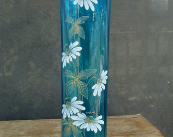Large Tall Antique Teal Blue Art Glass Vase With Hand Painted Enamel Flowers French Or Czech Bohemian Style Vertical Rib Panel Optic Glass
