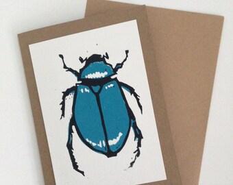 Linocut Blue Scarab Beetle Card