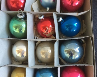 Vintage Shiny Brite Chrismas Ball Ornaments Fifties Sixties