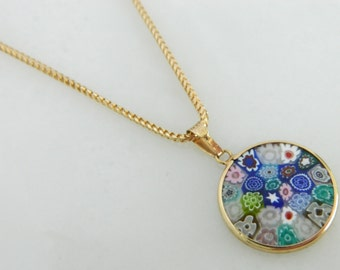 Vintage 14K Gold Floral Resin Necklace / Italian necklace / 14K Gold Italy