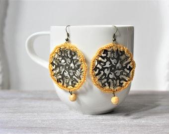 Yellow Antique Bronze Medallion Crochet Earrings