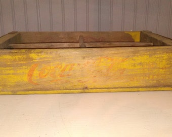 Yellow Wooden Coca Cola Crate