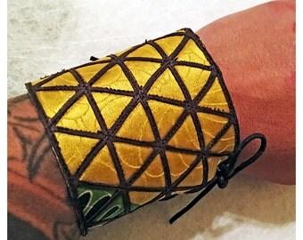 Leather and Kimono Silk die cut wrist cuff