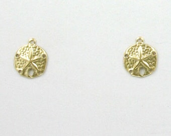 14k Gold Filled Sand Dollar Charms, Set of 2 - stc-GF116
