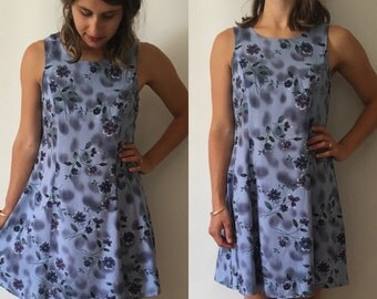 S - Vintage 90's Grunge Blue Floral Skater Date Night Mini Dress - small