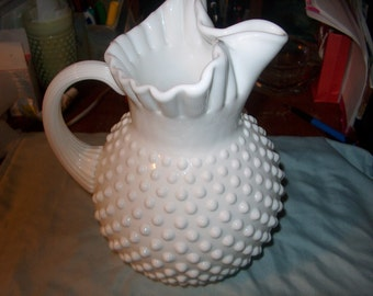 Vintage Fenton Glass Pitcher, Hobnail, Milk Glass, WAS 60.00 - 50% = 30.00