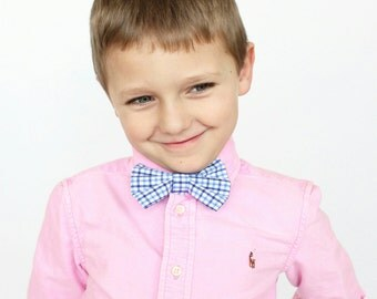 Blue Checkered Little Boy Clip On Bow Tie, blue bow tie, blue neck tie, ring bearer, baby bow tie, dapper dress up bow tie, birthday party