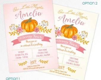 Pink Little pumpkin birthday party printable invitation - photo invitation