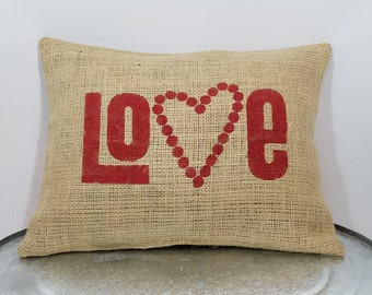 """Custom made natural burlap rustic country """"LOVE""""heart red (or custom color) Love/Valentine pillow cover/sham - Customize color option!"""