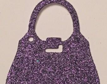 12 die cut handbags - purple glitter