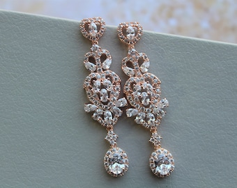 Art Deco Earrings Crystal Earrings Zircon Earrings Bridal stud  Earrings Drop Crystal  Earrings Bridal Jewelry,Wedding Earrings Gold Silver