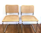 SOLD Pair of Marcel Breuer Cesca Style Cane Chairs, Mid Century Chrome Cantilever Chairs