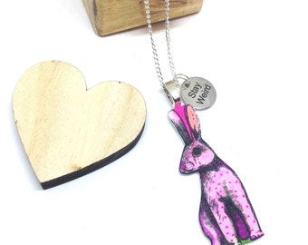 Rabbit Statement Pendant Necklace, Shrink Plastic Jewellery, Pink Bunny Quote Charm, Stay Weird Shrinky Dink Jewelry, Gift for Best Friend.