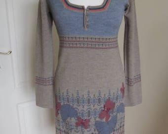SALE! White Stuff Wool Knitted Dress Floral pattern Boho Style S M