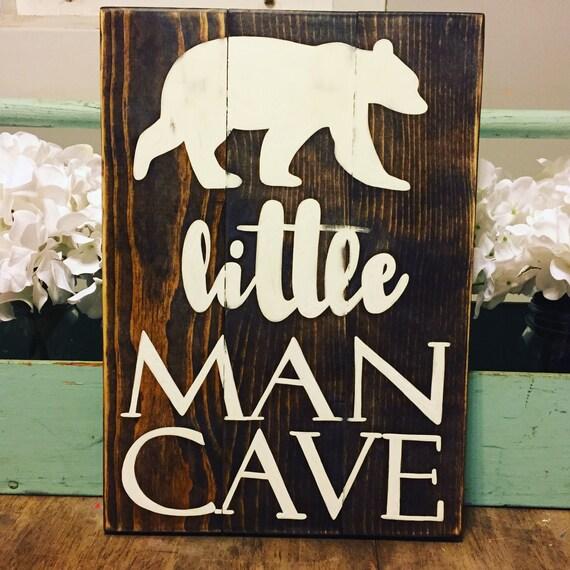 Man Cave Nursery : Little man cave hand painted nursery decor sign
