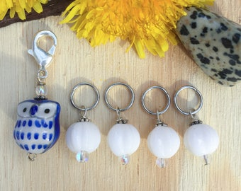 White Owl Stitch markers | knitting stitch markers| knitting Accessory | Knitting Notions