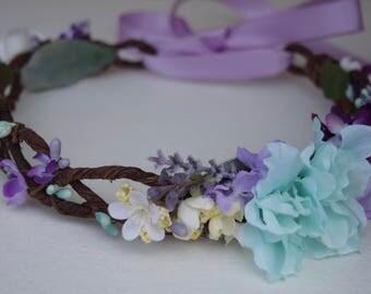 Aqua & Lavender Flower Crown - Flower Girl Crown- Photo Prop- Bridal Crown- Purple and Mint Flower Hair Wreath- Flower Girl Halo