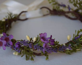Purple Flower Crown- Wax Flower Girl Crown - Purple Hair Wreath- Bridal Flower Crown- Purple and Lavender Floral Photo Prop - Greenery halo