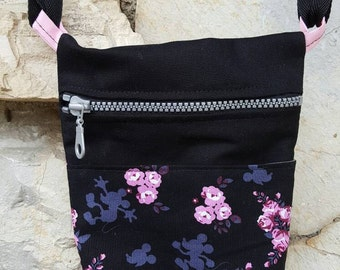 Disney mickey mouse in the roses crossbody bag, across the body bag,  Mickey bag, Mickey Mouse bag, Mickey Mouse crossbody bag.