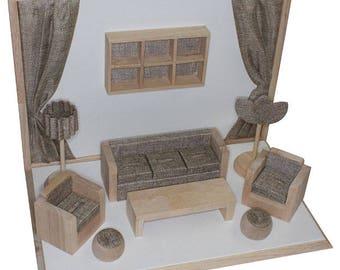Living Room Style Showcase Display Set (Burlap/White/Wood) (DSE3181)