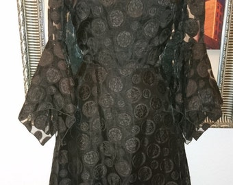 Authentic vintage ladies black transparent circular dress
