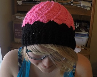 Divinity Swirl Beanie Hat  Hand Crochet (Hot Pink Neon and Black)