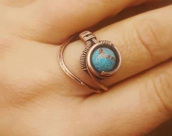 Jasper wire ring wire wrapped jewelry handmade ring wire gemstone ring copper wire ring blue stone ring wire wrapped ring copper jewelry