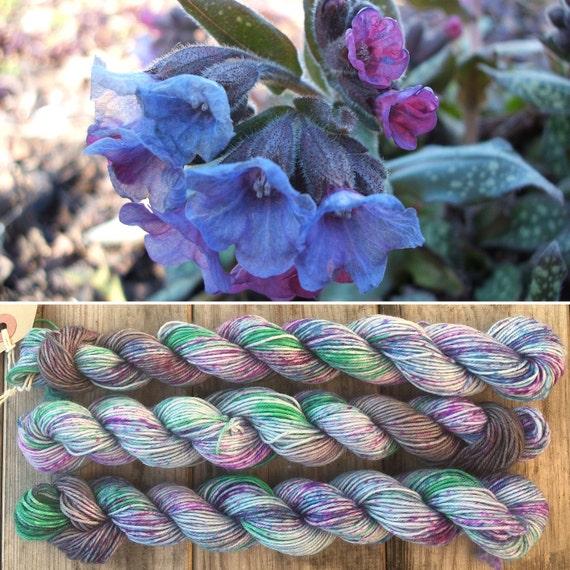 Lungwort 20g Miniskein, speckle dyed blue grey merino nylon sock indie yarn