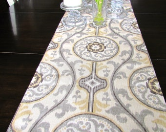 TABLE RUNNER 12 x 48 Gray Tan Modern Table Runners Wedding Showers Decorative Gray TanTable Runner 48 60 72 84 96