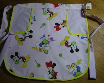 Vintage Disney Fabric Half Apron with Pocket