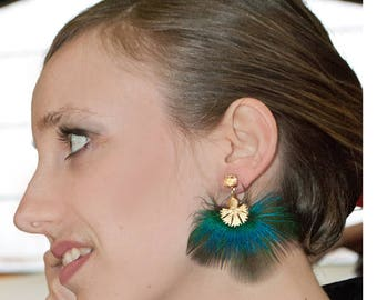 Earrings turquoise peacock feathers - gold - plated jewel Hummingbird bird of paradise collection