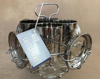 Silver Bar Set, Queens LusterWare, Vitreon, Highball Glasses, Chrome Bar Caddy, Vintage Barware, Medieval Motif Bar, Kimiko, Silver Fade