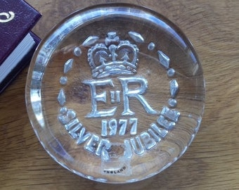 Vintage Jubilee Celebratory Glass Paperweight 1977
