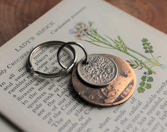 60th Birthday Gift / 60th Wedding Anniversary / 1957 Sixpence / 1957 Coin / Handmade Key Ring / Key Chain / Vintage Coin / Lucky Sixpence