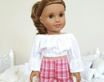 18 inch doll pink plaid shorts