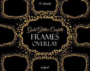 Overlay frame clipart. Confetti gold glitter frame. Digital frame clipart. Printable frame. Instant download. PNG format. Business use