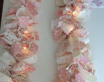 Pink Roses & Ivory Fabric 7.5 ft Lighted Garland