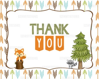 Woodland Animal Baby Shower Thank You Card / instant download / fox raccoon forest arrow woodland forest animals - PRINTABLE