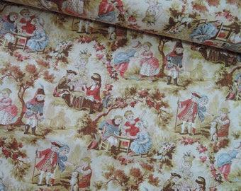 "Half Yard of Yuwa Sweet Victorian Scene Fabric.  Approx. 18"" x 44"" Made in Japan"