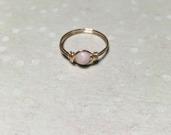 Pink calcite ring