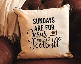 Football Pillow - Sundays are for Jesus & Football Home Decor