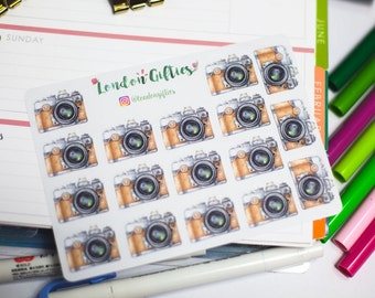 Old school photo cameras - decorative watercolour planner stickers suitable for any planner -266-