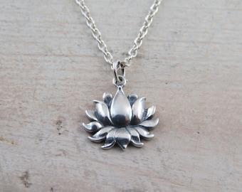 Sterling silver lotus flower necklace, Lotus flower, blooming lotus flower,lotus flower charm, yoga necklace, flower necklace