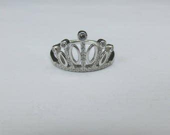 Anillo de corona en plata fina