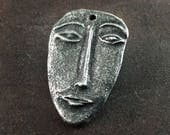 Handcrafted Face Pendant. Handmade Pewter Jewelry Components No. 128-PD