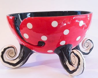 Polka dot yarn bowl with curly feet.