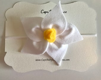 GIANT Lily Felt Headband/White/Baby