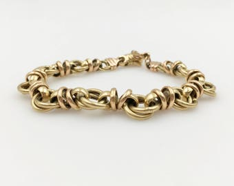 Handmade Vintage Arezzo, Italy Solid 18K Yellow and Rose Gold Link Bracelet